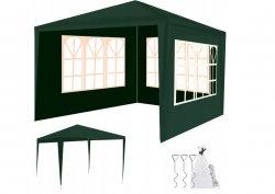 Malatec 12847 Zahradní párty stan 3 x 3 m + 3 boční stěny zelený