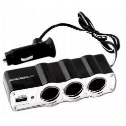 Pronett XA008 Rozbočovač pro autozapalovač 3 x 12V + USB